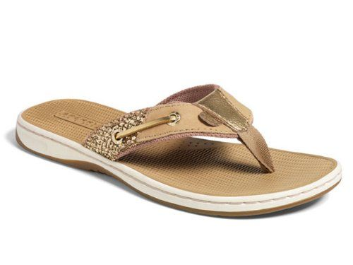 Sperry Top Sider Womens 6 Flip Flops Gold Sequined Sandals