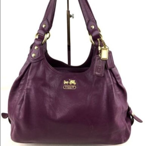 NEW Coach Madison Maggie Leather Shoulder Bag Coach 14336 Madison Maggie  Leather Shoulder Bag Satchel Purse Plum 14