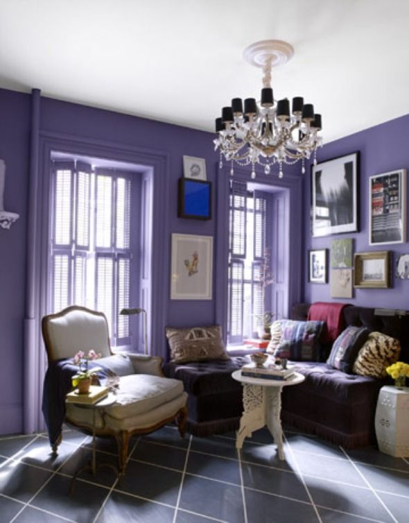 This color lavender paint as an accent wall for mia 39 s room plus glitter ceiling and black Purple accent wall in living room
