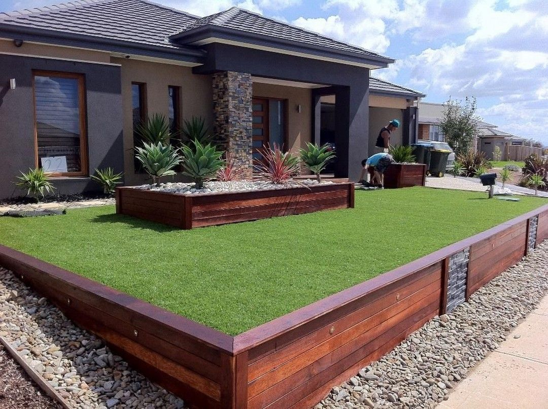 Pin On Dream House Modern front yard retaining wall