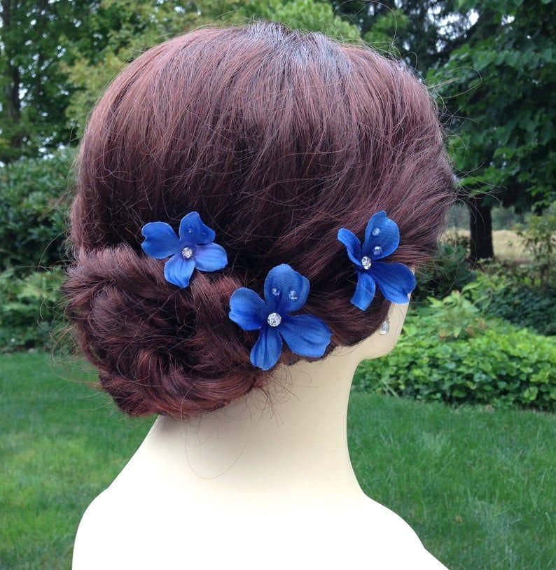 Blue flower hair pins bridal hair pins with rhinestone