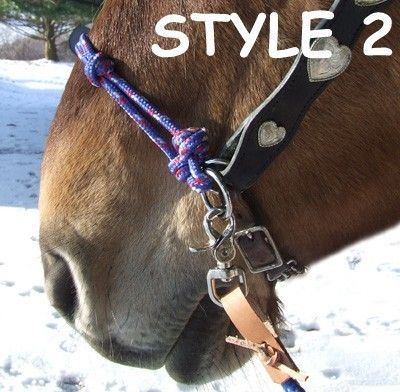 knotted side pull hackamore attachment with custom braided noseband bitless,
