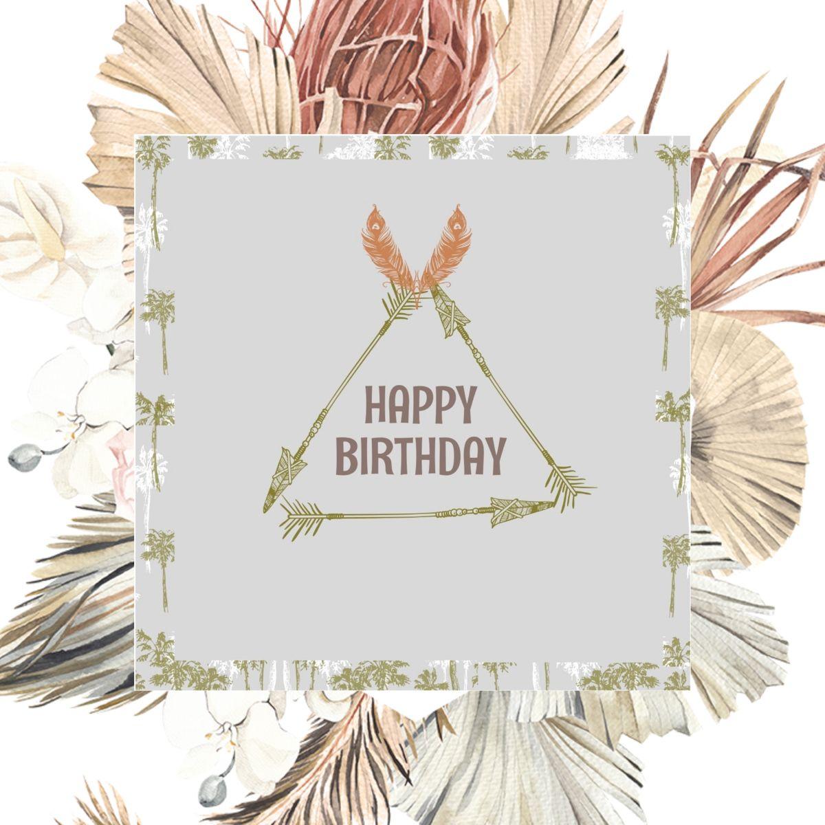 Boho Birthday Card Template Happy Birthday Card Feather Bohemian Arrow Wild Hippie Hipster Greeting Card Digital Fall Birthday In 2021 Birthday Card Template Happy Birthday Greeting Card Digital Birthday Cards