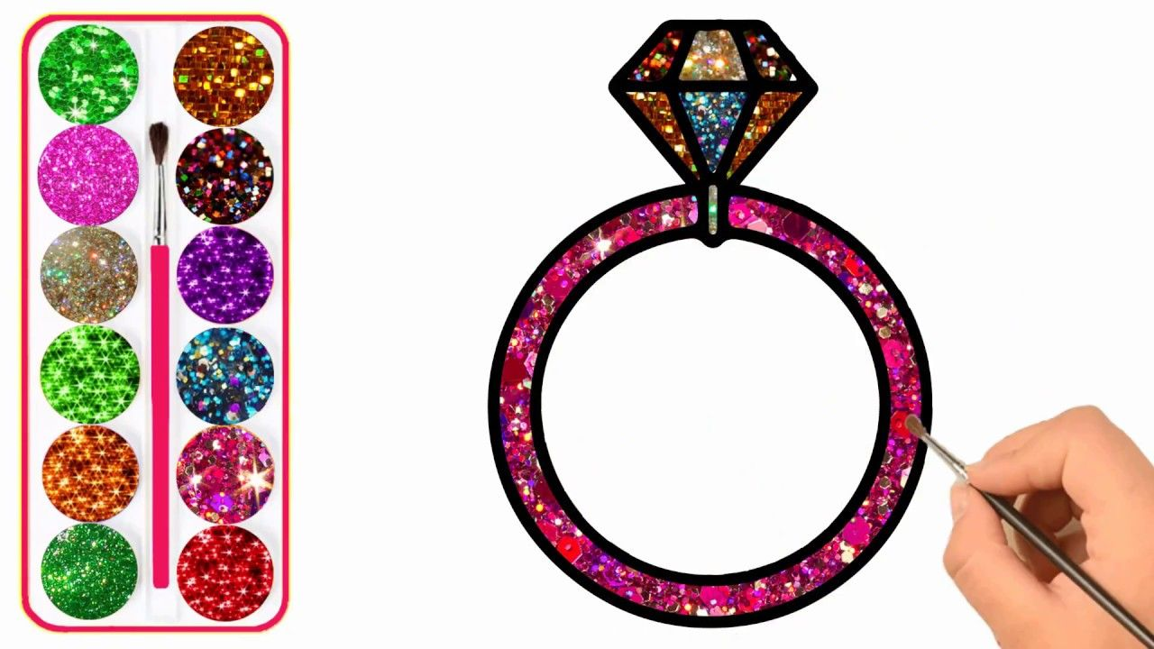 Glitter diamonds ring drawing and coloring how to draw diamonds