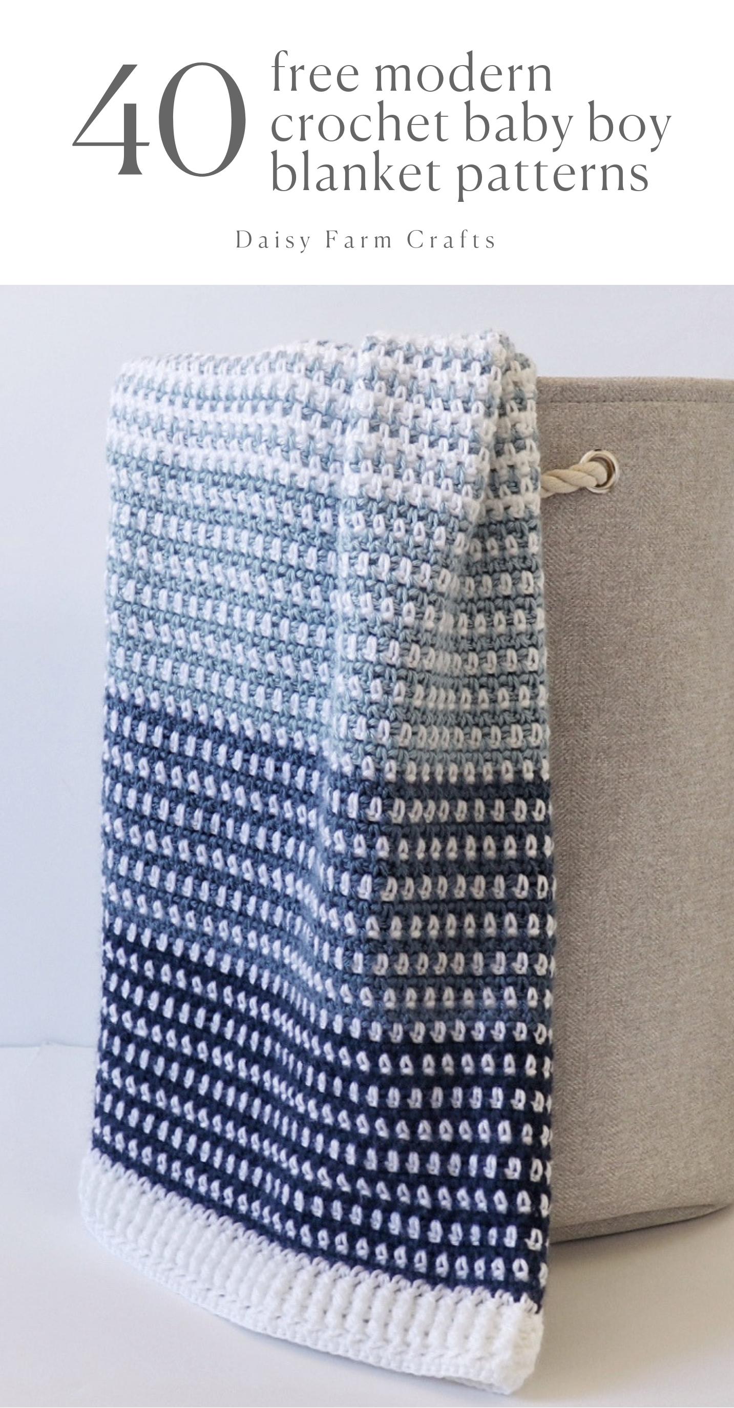 Photo of 40 Free Modern Crochet Baby Boy Blanket Patterns from Daisy Farm Crafts