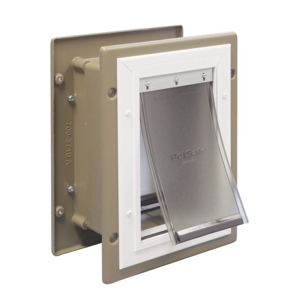 Petsafe 8 1 4 In X 11 1 4 In Medium Wall Entry Aluminum Pet Door Hpa11 10919 The Home Depot In 2020 Pet Door Cat Door Dog Door