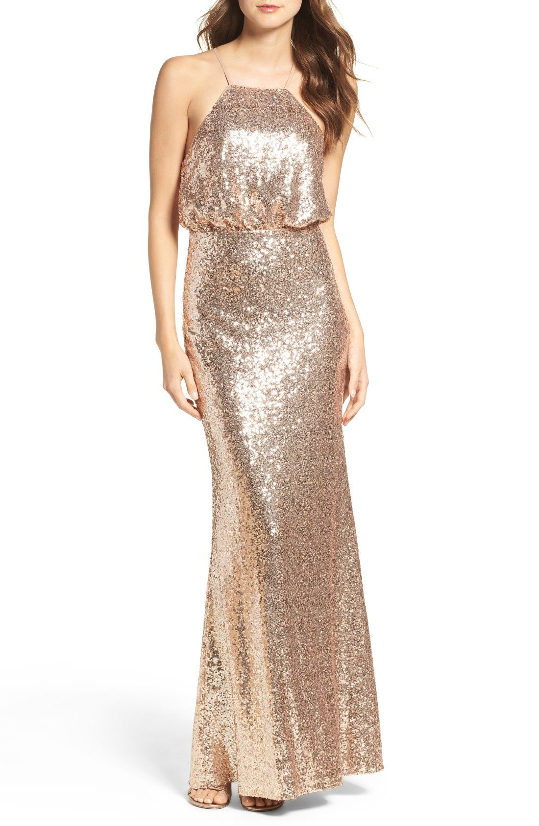 Sequined Bridesmaid Dress | Gowns, Gold weddings and Wedding