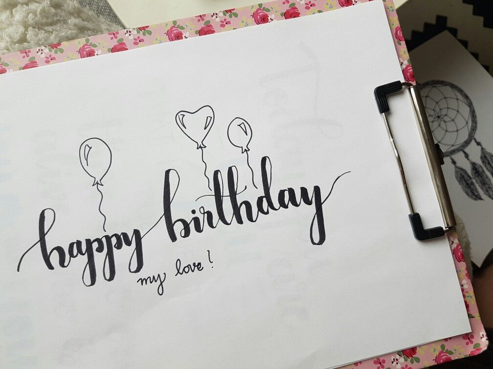 Brush lettering happy birthday my