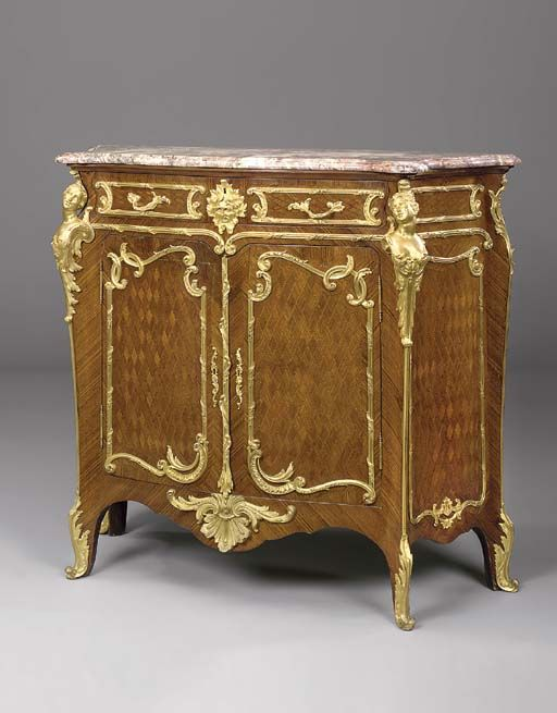 A Louis XV style ormolu-mounted kingwood and parquetry meuble d