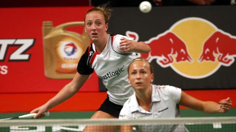 De badmintonsters verslaan het Duitse duo Goliszewski/Nelte en staan zondag in de finale in Almere.