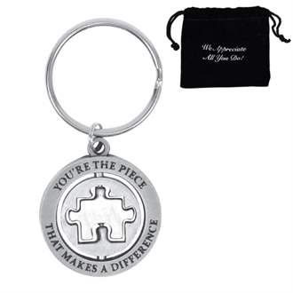 Jigsaw Puzzle Piece KeyRing Hand Crafted Key Ring in pouch Gift Idea 30mm