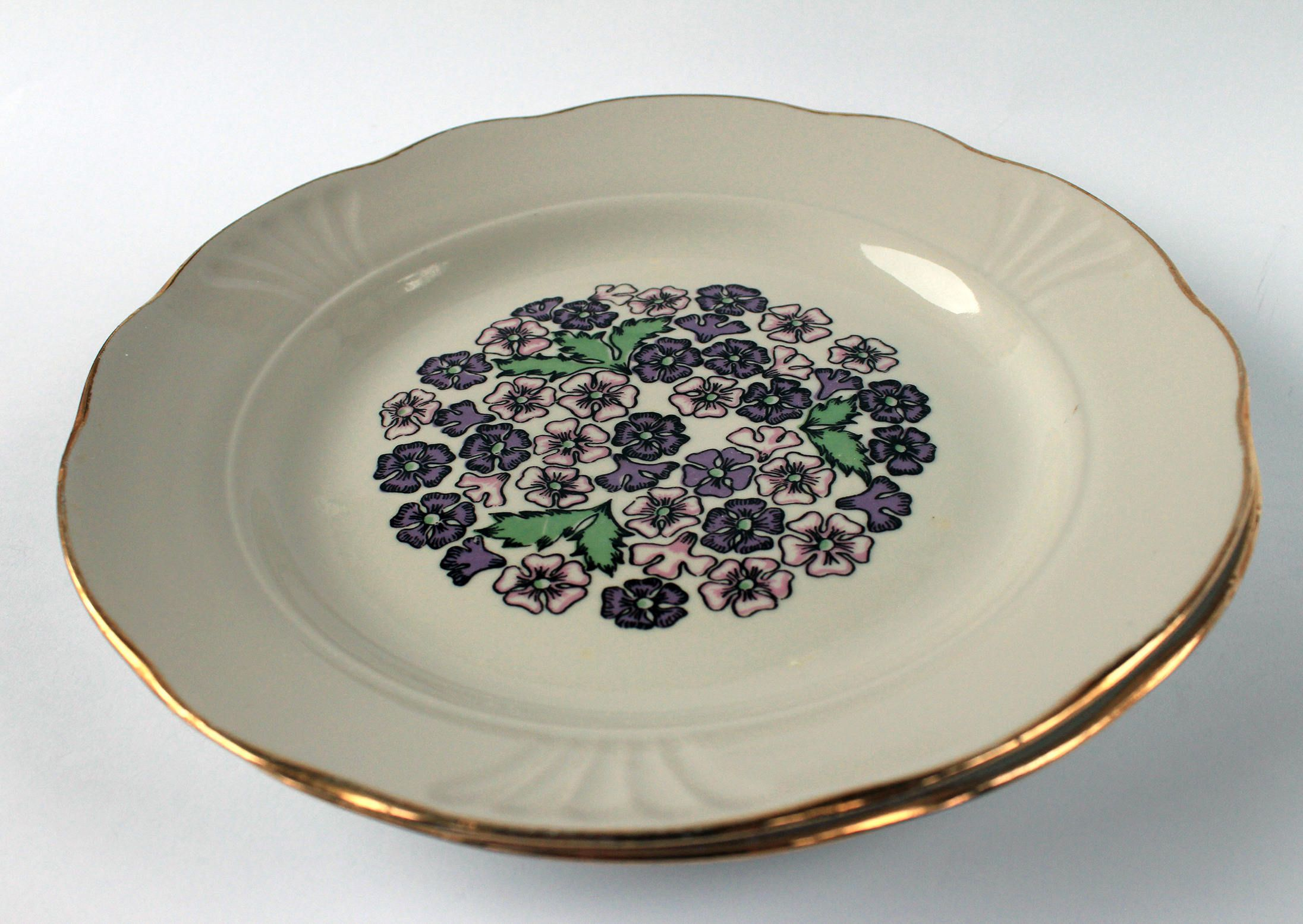 Large Decorative Ceramic Plates Large Ceramic Plate With Purple Flowers Decor Off White With