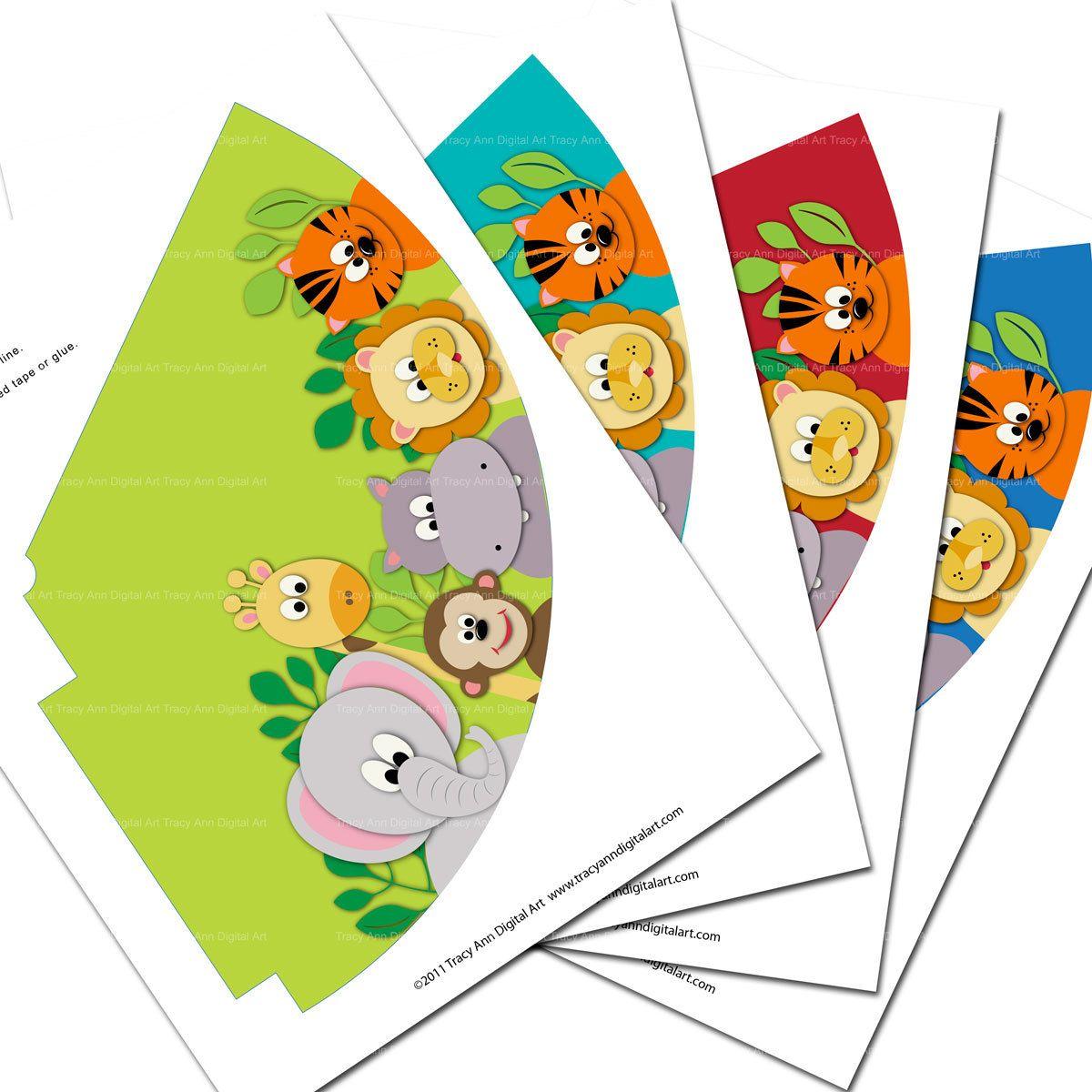 New Printable Jungle Party Hats Do It Yourself 3 95 Via Etsy 1st Birthday Hats Jungle Party Animal Theme Birthday