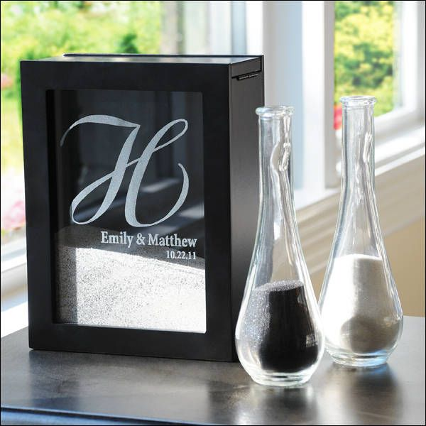 Sand ceremony shadow box and vases! Cool twist on the sand ceremony idea.