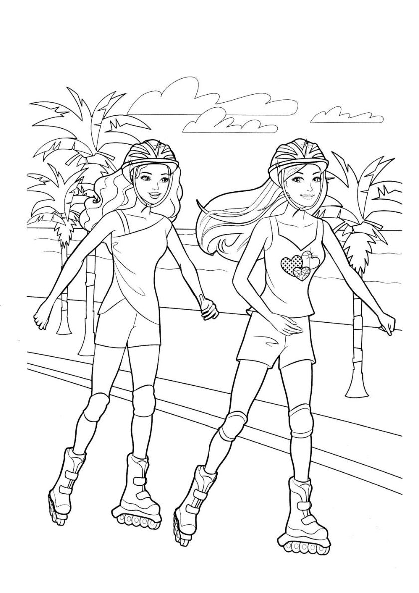 Roller Skating Barbie Coloring Cute Coloring Pages