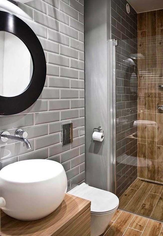 Cinza Preto E Madeira Compe A Decorao Desse Banheiro