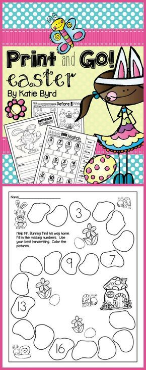 Print and Go! Easter Math and Literacy (NO PREP) Literacy - best of easy multiplication coloring pages
