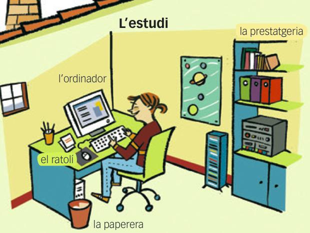 """#Fitxa #Imprimible del #vocabulari de la #casa """"L'estudi"""" en #català #flashcards #EduacióPrimaria"""
