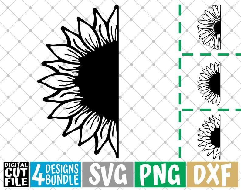 4x Half Sunflowers Designs Bundle Svg Sun Svg Summer Svg Flowers Svg Floral File For Cricut Silhouette Vector Svg Files For Cricut Sunflower Design Design Bundles Flower Svg