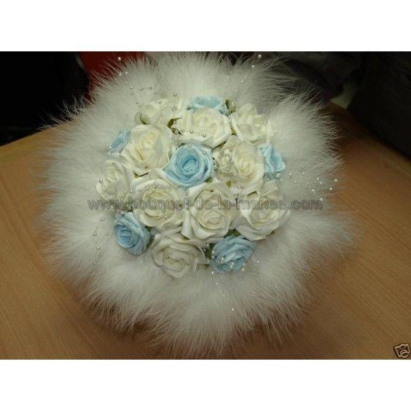 Bouquet Mariée Rond thème bleu et blanc avec plumes