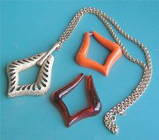 """Gold Tone 3 Way """"AUTUMN TRIO"""" Necklace - Sarah Coventry Jewelry - Vtg"""
