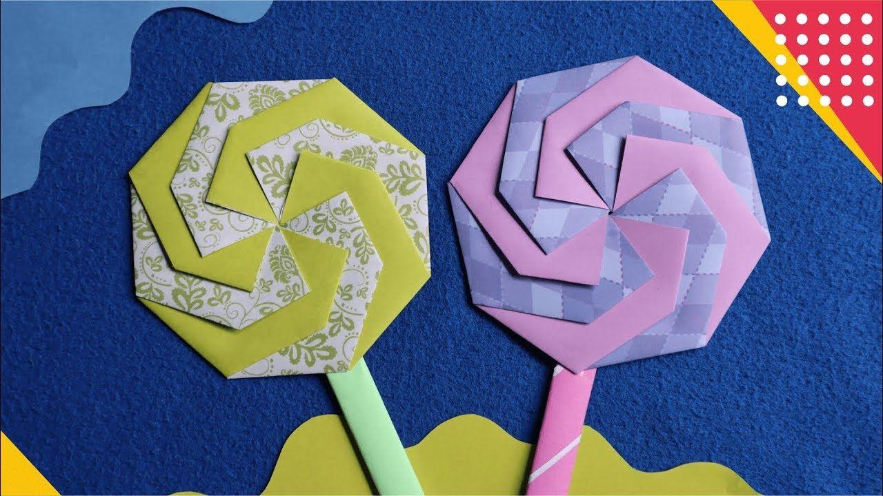 Wow Lollipop Origami Cara Membuat Hiasan Permen Gagang Dari Kertas Or Origami Pembuatan Perhiasan Hiasan