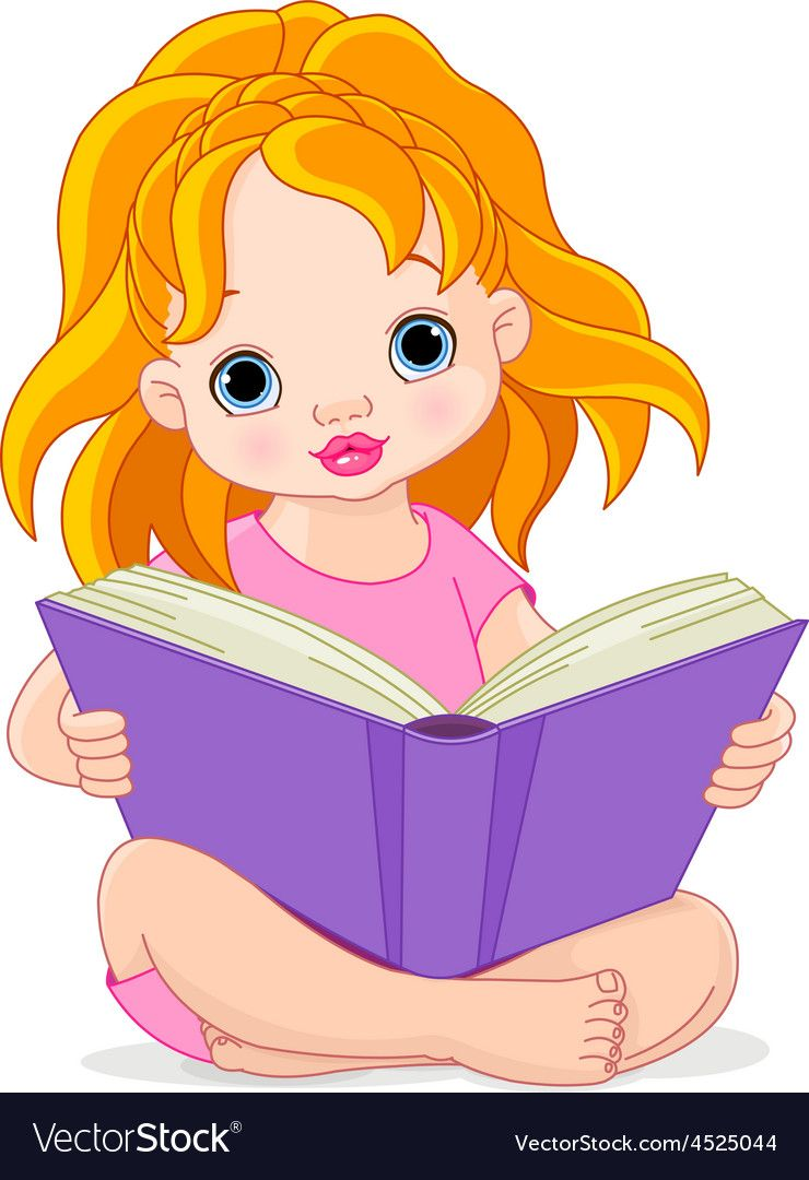 Illustration Of A Little Girl Reading A Book Download A Free Preview Or High Quality Adobe Illustrator Ai Eps Girl Reading Reading Cartoon Girl Reading Book
