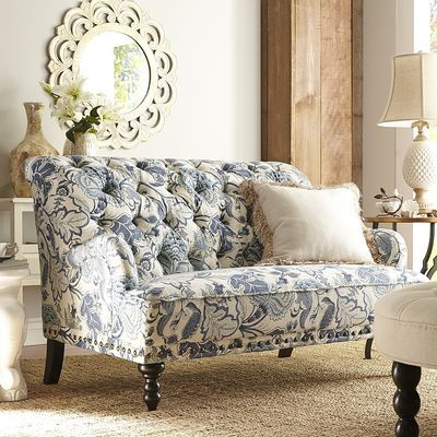 Chas Loveseat   Indigo Meadow Possibility For Recovering Grandmau0027s Sofa