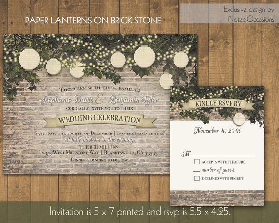 Rustic Paper Lantern Wedding Invitations And Rsvp Card Designed