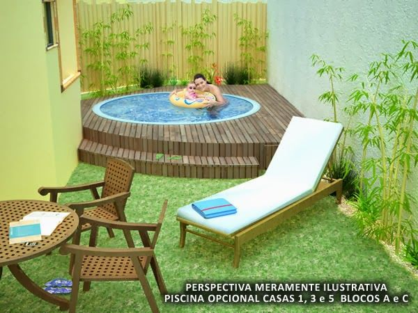 Decora o para quintal pequeno com piscina ideias para a - Piscina pequena plastico ...