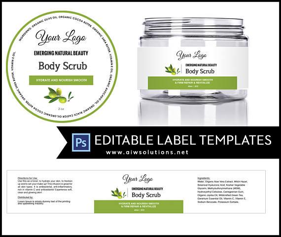 Olive Jar Label Template 4oz Label 8oz Label Template Skin Care Label Round Label Template Sticker Template Square Jar Label In 2021 Cosmetic Labels Label Templates Jar Labels