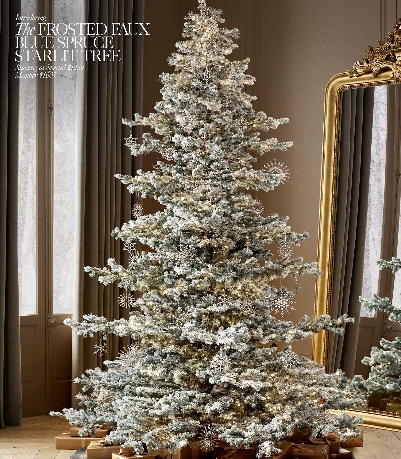 Restoration Hardware Outdoor Christmas Decorations In 2020 Faux Christmas Trees Outdoor Christmas Decorations Flocked Christmas Trees