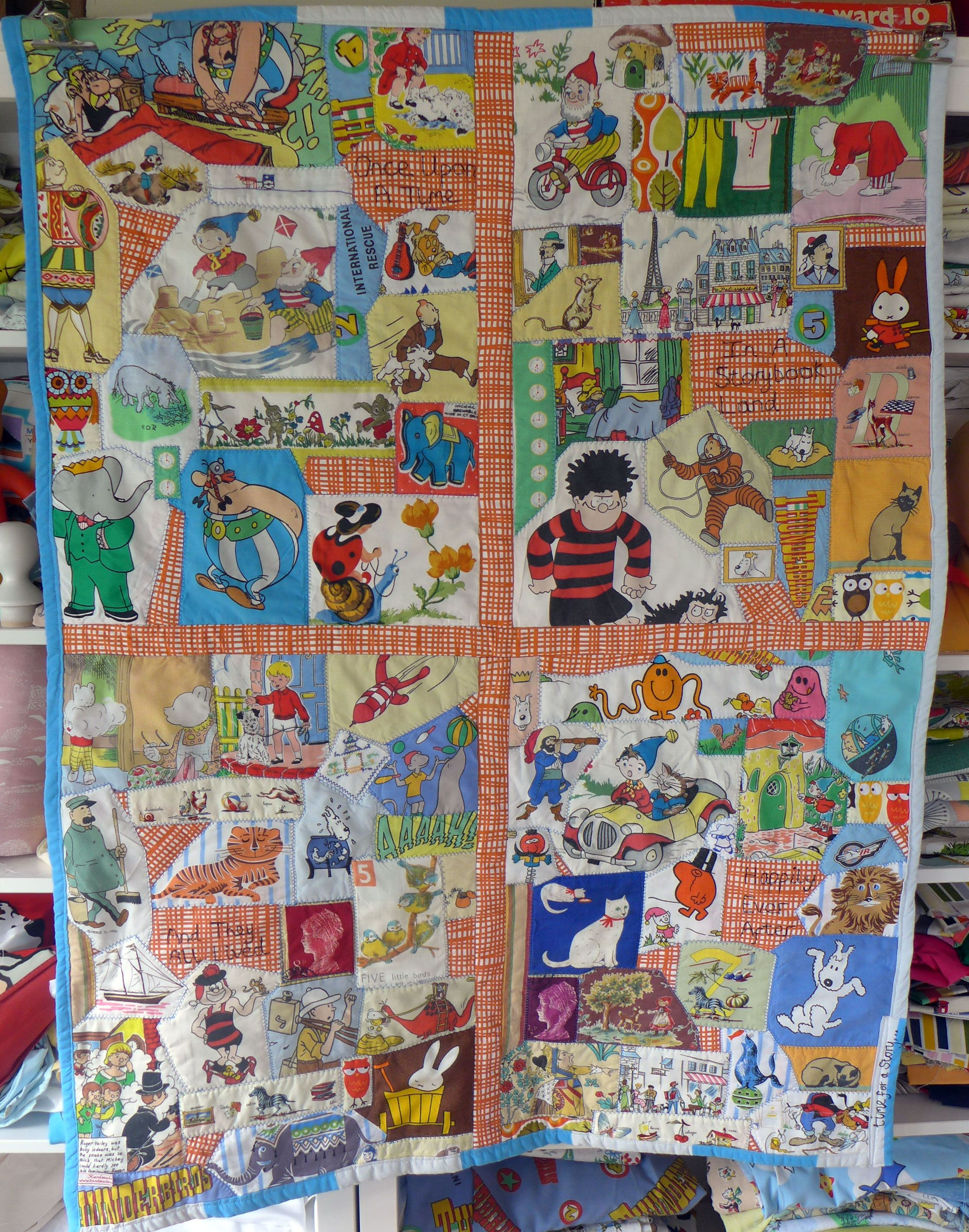 Big storybook crazy patchwork quilt filled with vintage for Unique childrens fabric
