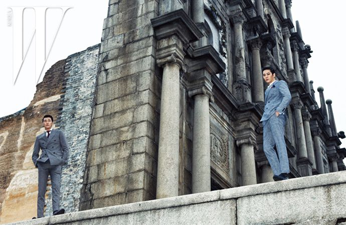 Joo Won & Kim Young Kwang Parade Their Handsomeness In Macau For W Korea's April 2015 Issue