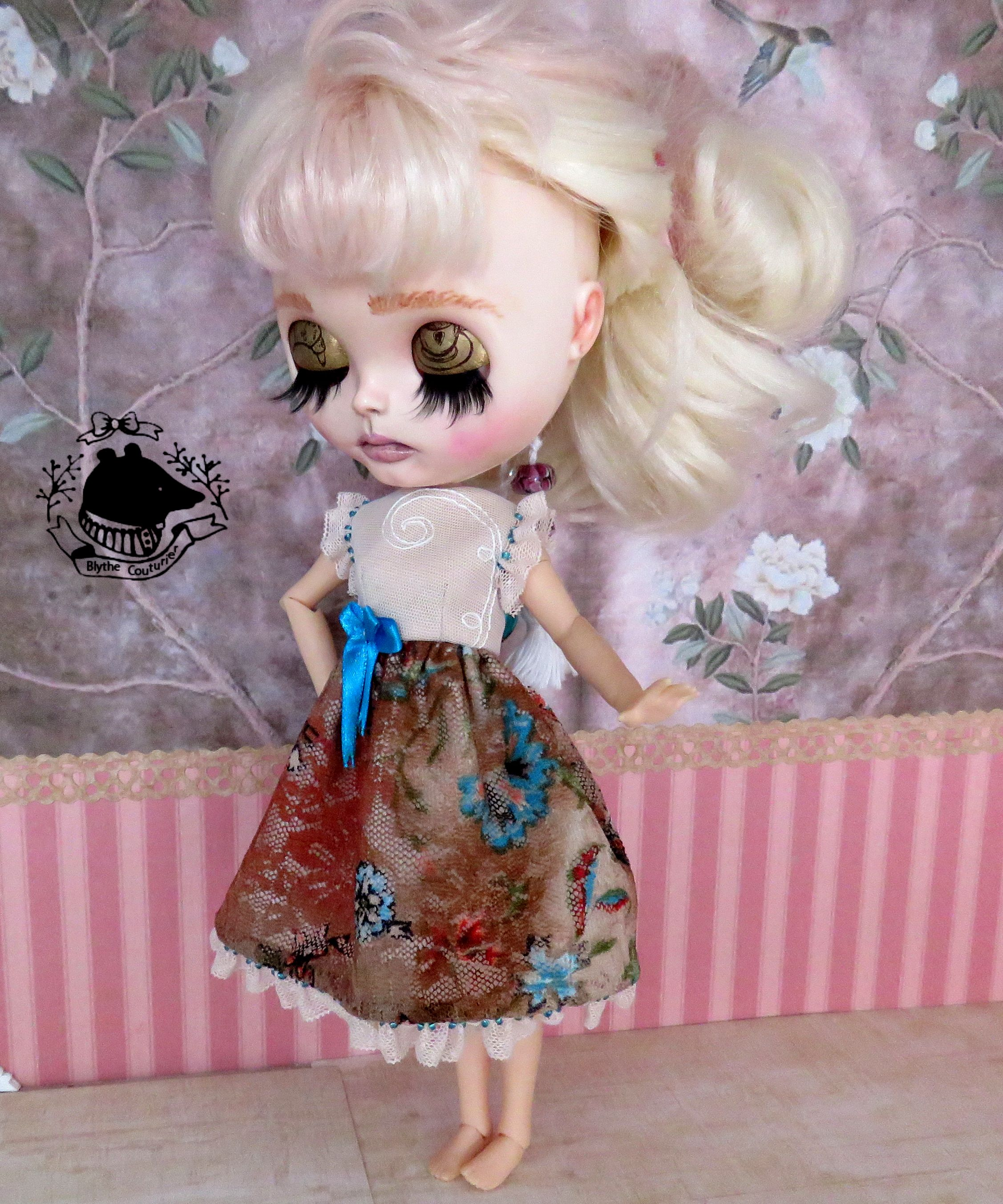 Shabby Chic Flower Dress with Petti Coat//Outfit for Blythe//Pullips OMD A94