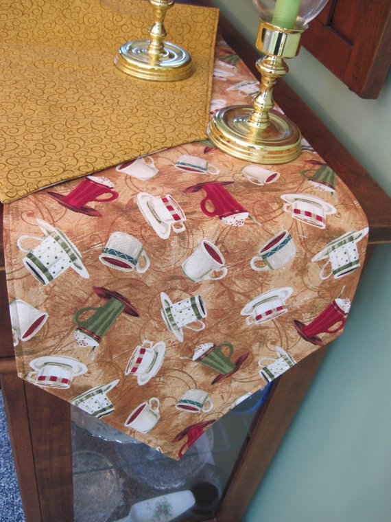 Coffee Cup Table Runner 54 72 Reversible Themed