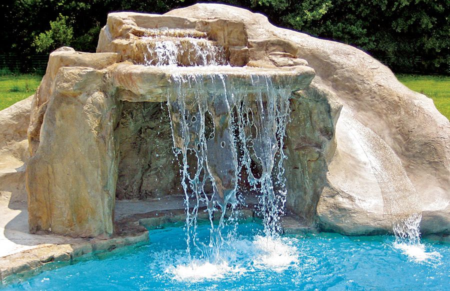 Inground Pools With Waterfalls And Slides houston pool with rock waterfall and slide | pools | pinterest
