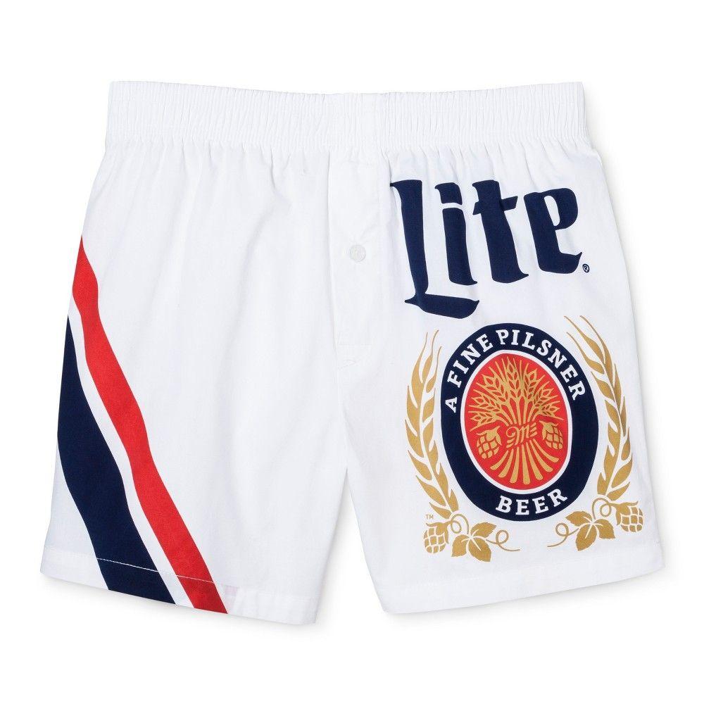 ec592b2dac Men's Miller Lite Woven Boxer Shorts White/Navy Medium 1 Pk - Americana  Underwear, Blue White