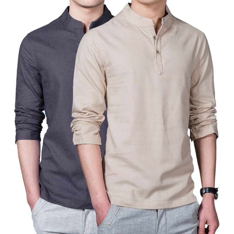 New Spring Summer Casual Men Linen Shirt Long Sleeve Solid V Neck ...