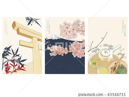 #Japanese #background #traditional #elements #vector. #Fuji #mountain, #cherry #blossom #flower, #Torii, #bamboo #Matcha #green #tree #ceremony #set. #Asian #template #vintage #style.