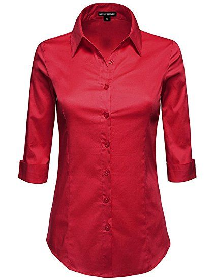 61de8336 MAYSIX APPAREL Plus Size 3/4 Sleeve Stretchy Button Down Collar Office  Formal Shirt Blouse For Women DARKRED 1XL