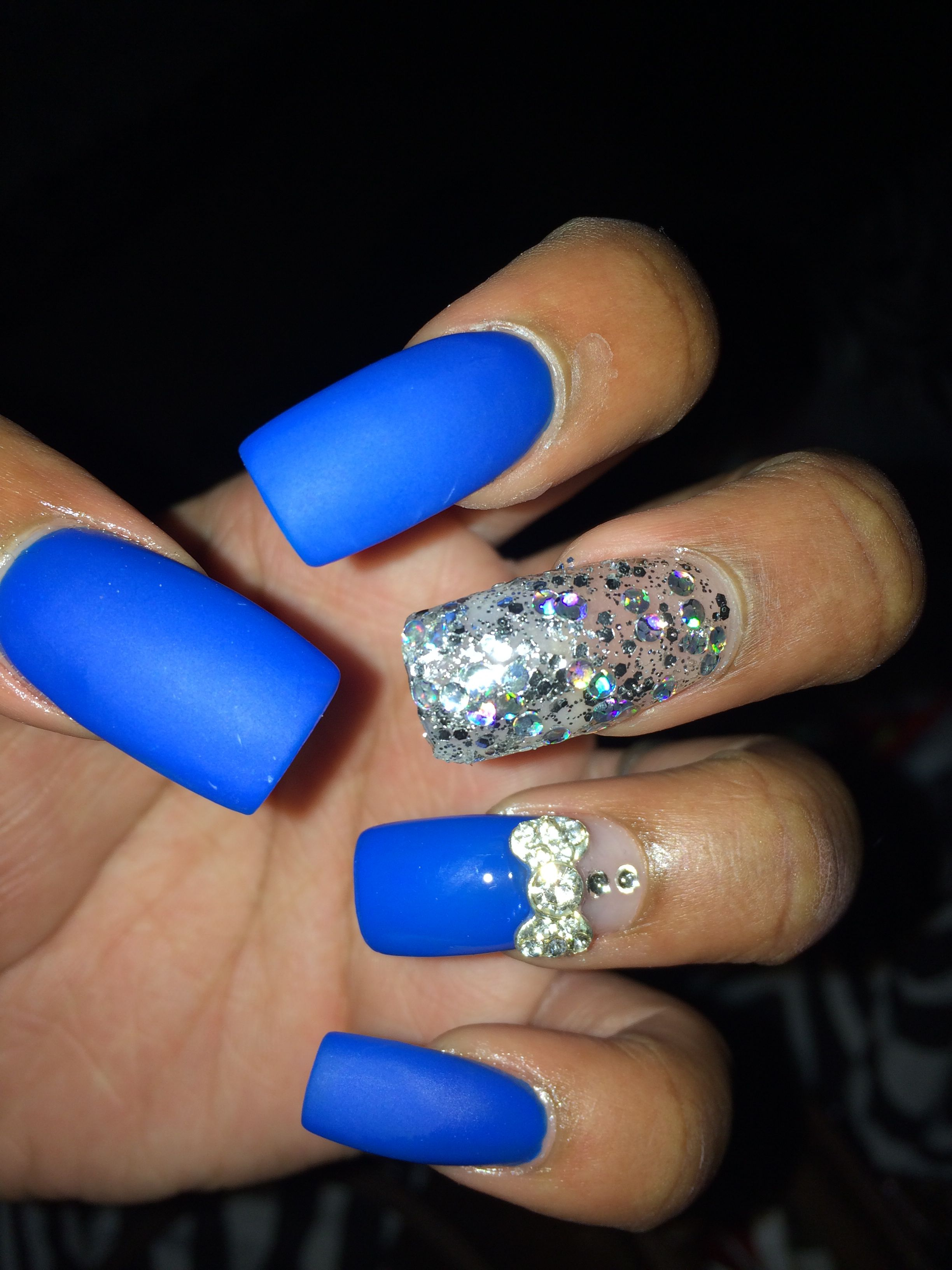 royal blue matte nails w/ glitter , blue french tip with 3d bow