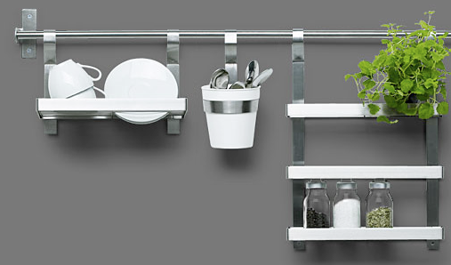 kitchen rail system with flatware caddy | Kitchen wall ...