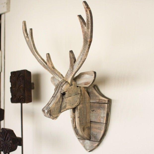 Recycled Wooden Deer Head Wall Mount Wood Deer Head Reclaimed Wood Wall Decor Deer Heads Wall