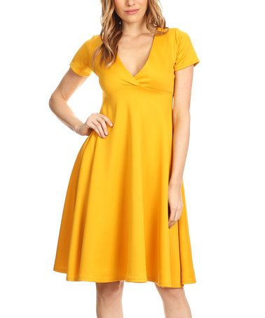 da48ffb0bbee Another great find on #zulily! Mustard Empire-Waist Dress #zulilyfinds
