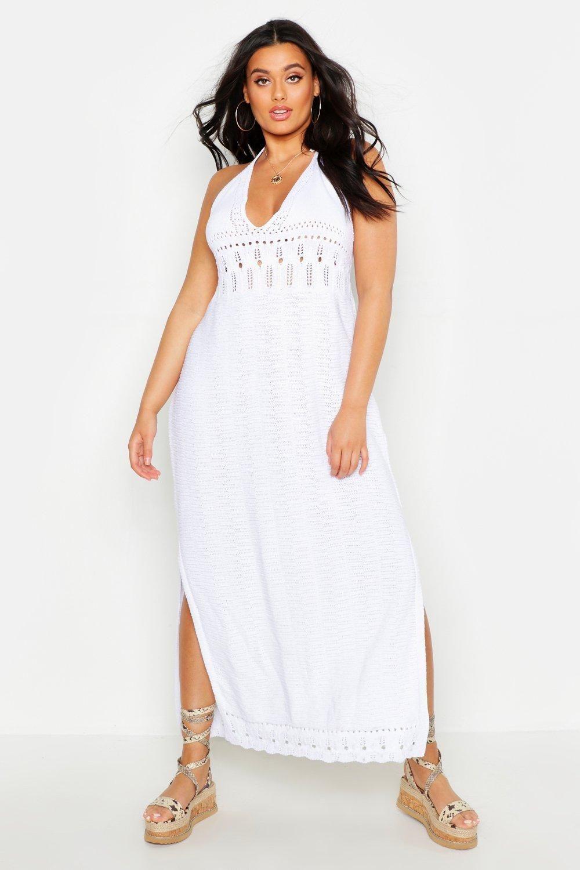 Plus Crochet Halter Neck Maxi Dress | Boohoo | Halter neck ...