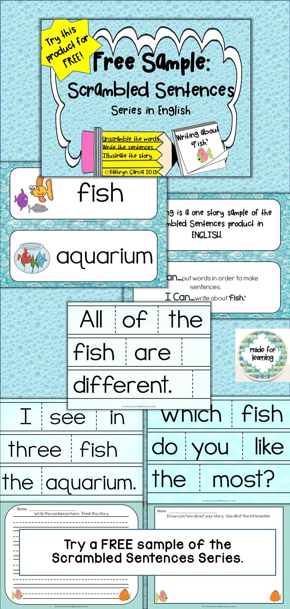 This free scrambled sentences activity includes 3 sentences to be unscrambled to create a story that