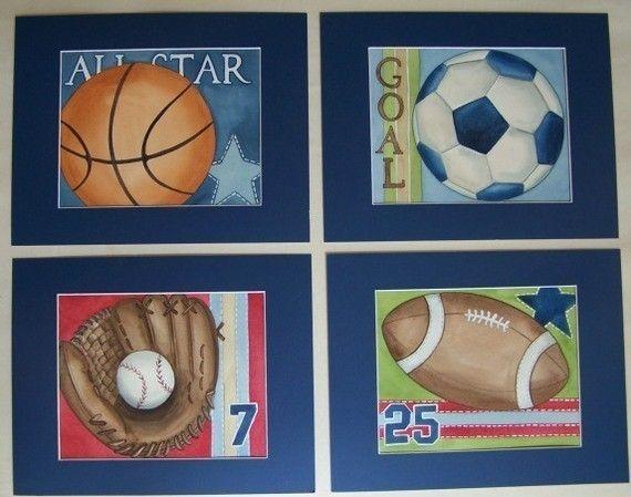 6 Sports kids wall art childrens sports wall decor by terezief ...