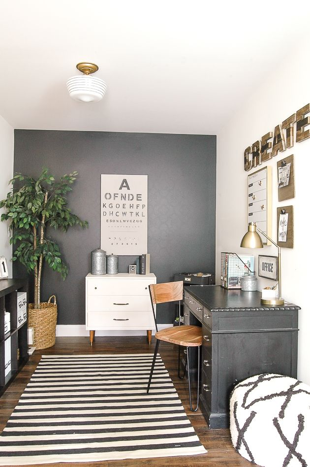 Modern industrial farmhouse office reveal mid century for Modern office decor ideas