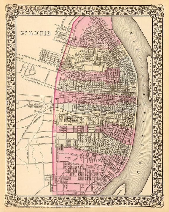 Antique St Louis city map Print 16 x 20 by AncientShades on Etsy ...
